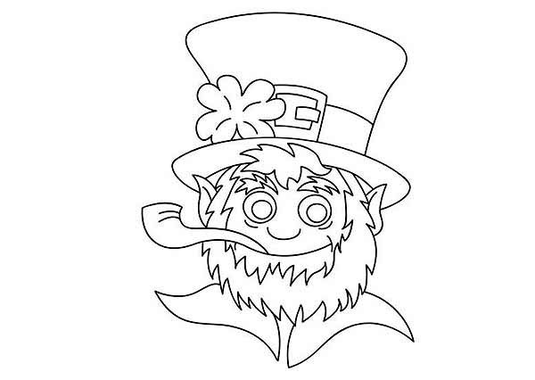 Leprechaun, : A Leprechaun Smoking a Pipe Coloring Page