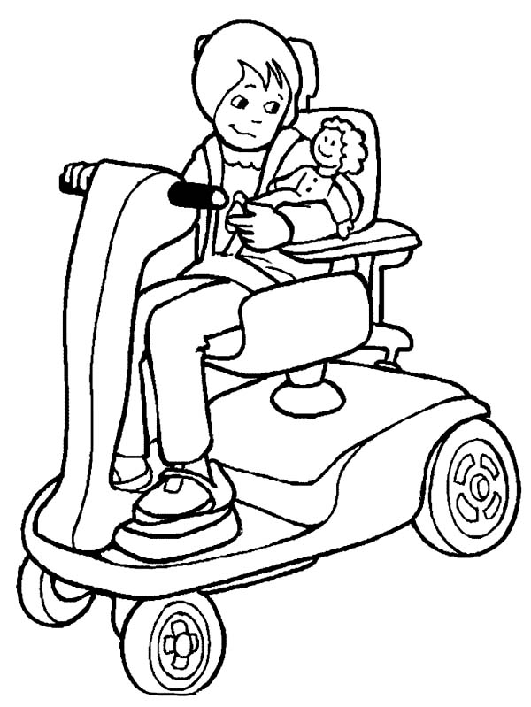 Disability, : A Mother with Disability Take Care of Her Baby Coloring Page