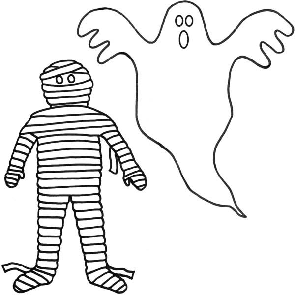 Ghost, : A Mummy and a Ghost Coloring Page