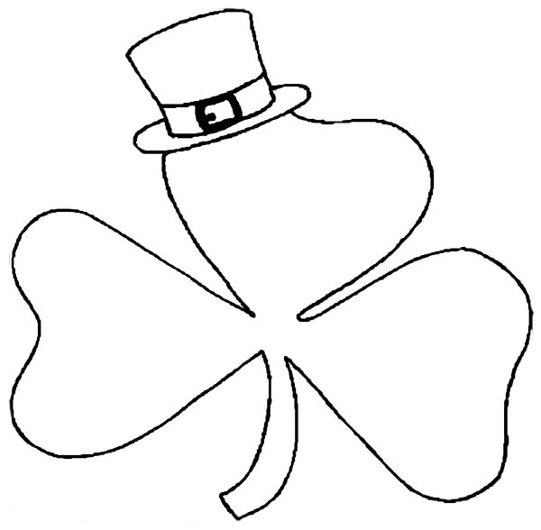 St Patricks Day, : A Shamrock Wearing Hat on St Patricks Day Coloring Page