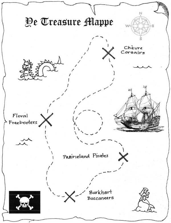 Treasure Map, : Adventurous Treasure Map Coloring Page
