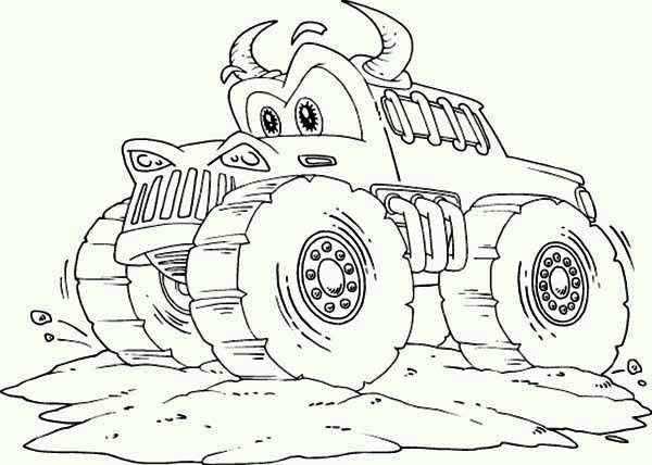 Monster Truck, : Amazing Monster Truck with Horn Coloring Page