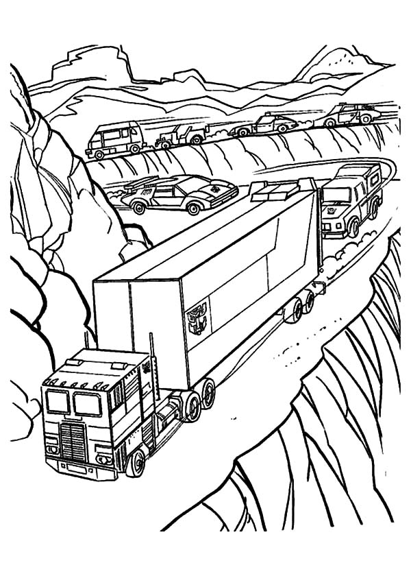 Transformers, : Autobots March on the Road in Transformers Coloring Page