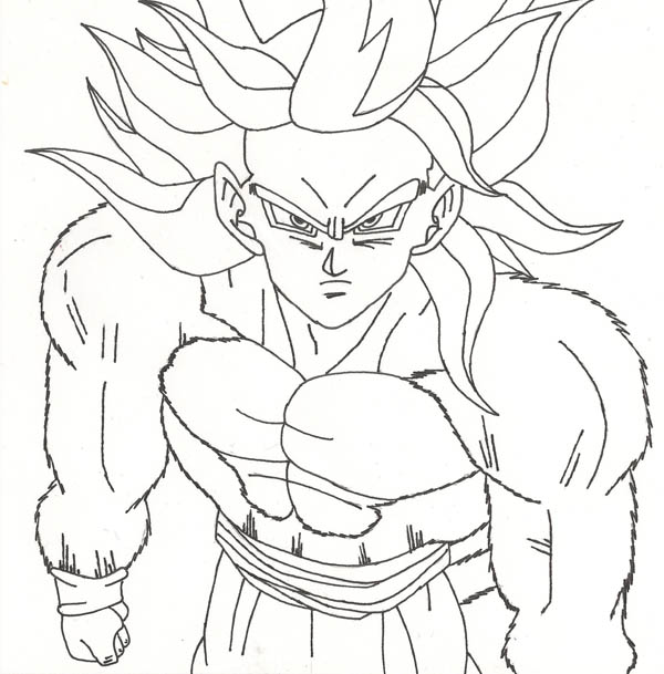 Dragon Ball Z, : Awesome Goku Super Saiyan 4 Form in Dragon Ball Z Coloring Page