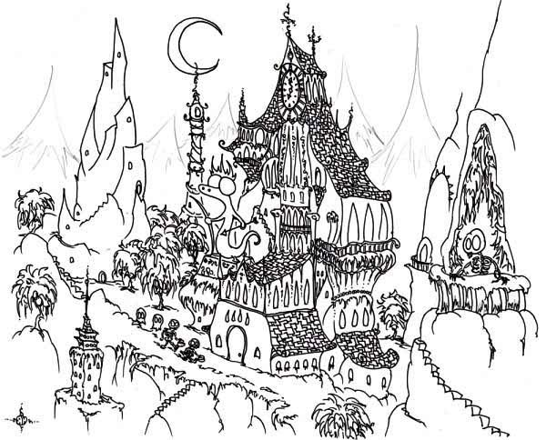 Haunted House, : Awesome Haunted House Coloring Page