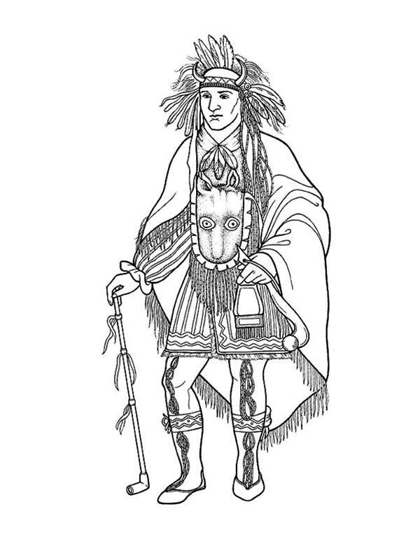 Native American, : Awesome Native American Chief Poster Coloring Page