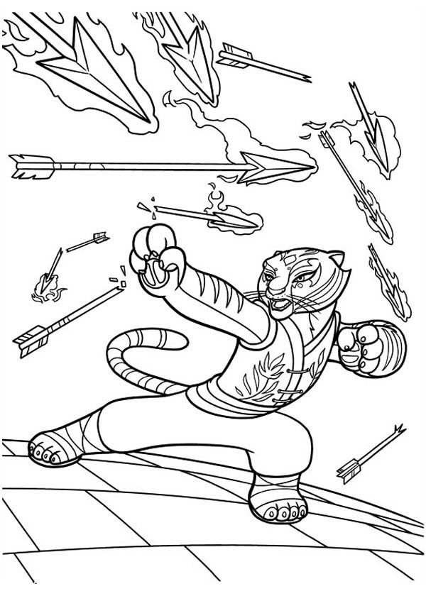 Kung Fu Panda, : Awesome Tigress Punch a Lot of Arrow in Kung Fu Panda Coloring Page