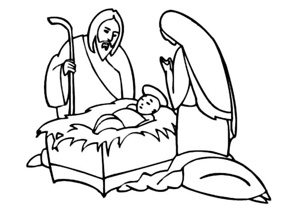 Baby Jesus, : Baby Jesus King of Jews Coloring Page