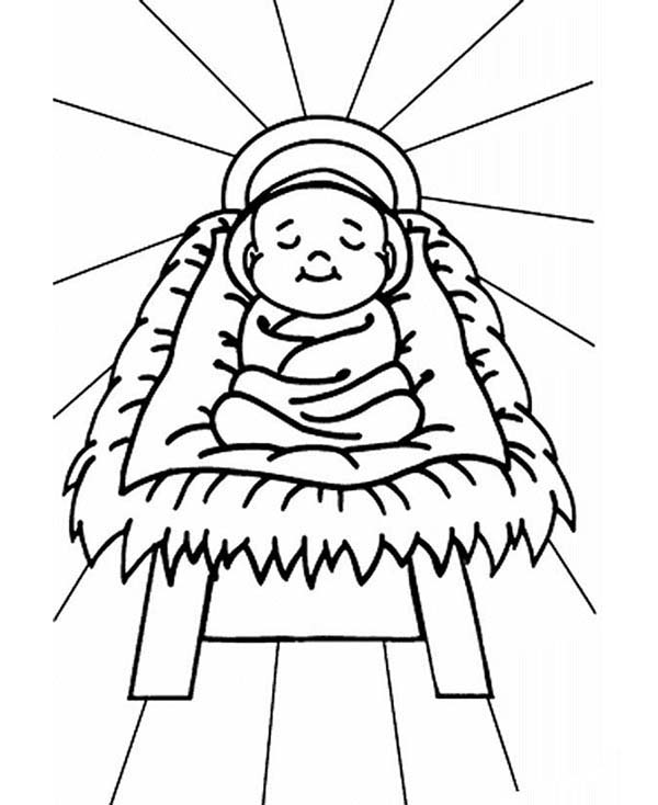 It is a photo of Monster Baby Jesus In A Manger Coloring Pages