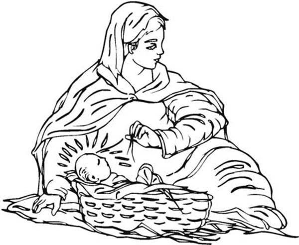Baby Jesus, : Baby Jesus and Mary Coloring Page