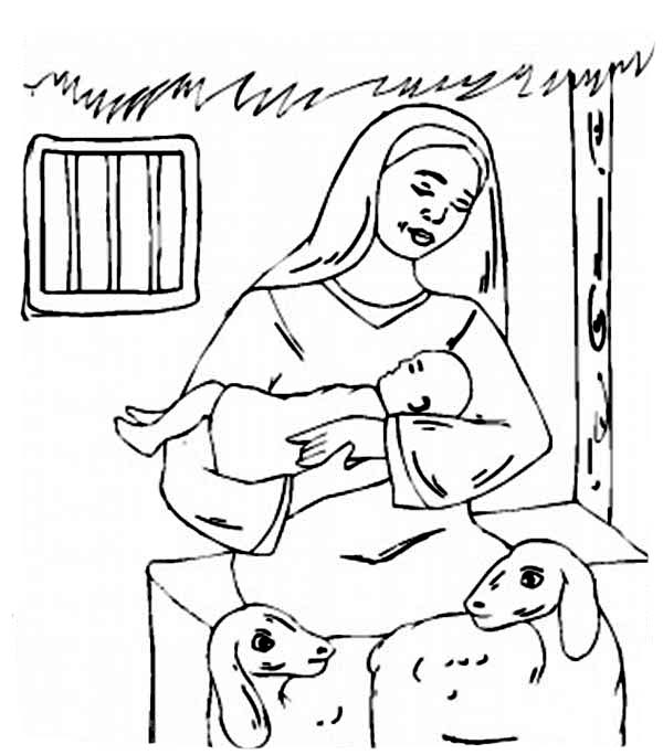 Baby Jesus, : Baby Jesus and Mary and Two Shep Coloring Page