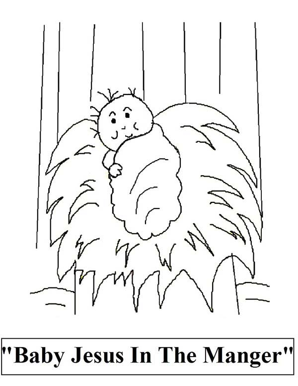 Baby Jesus, : Baby Jesus in the Manger Coloring Page