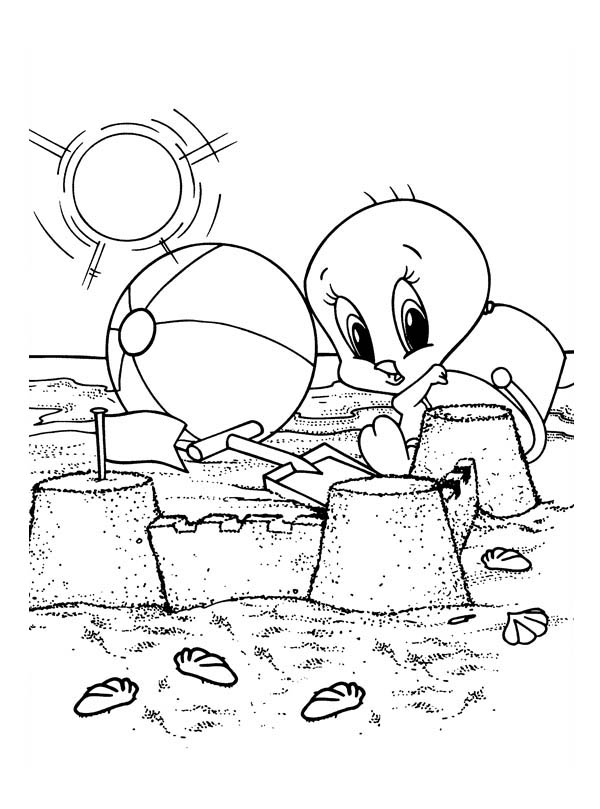 Baby Looney Tunes, : Baby Tweety Playing Sand Castle in Baby Looney Tunes Coloring Page