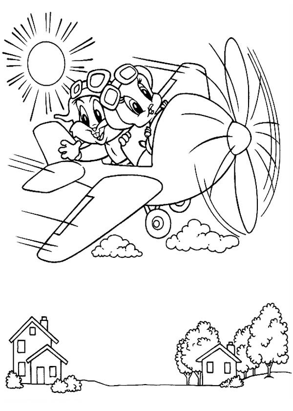 Baby Looney Tunes, : Baby Tweety and Baby Lola Flying with Airplane in Baby Looney Tunes Coloring Page