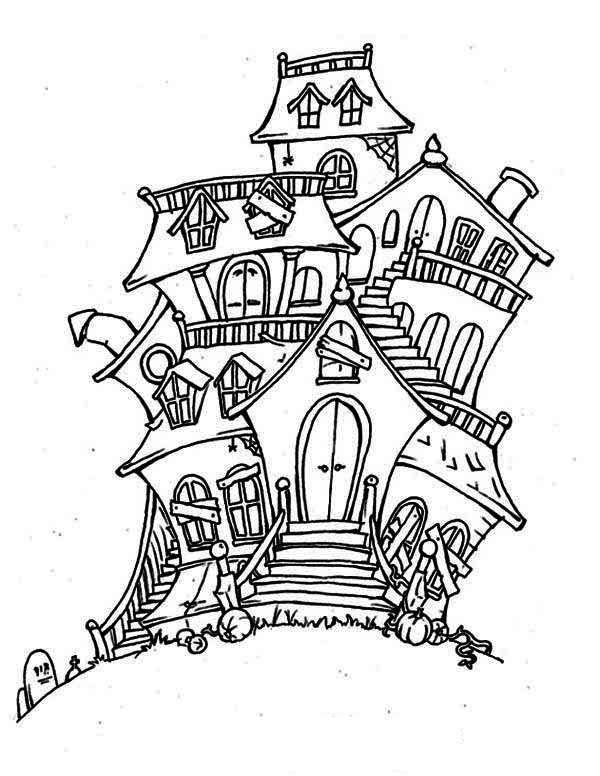Haunted House, : Bad Spirit in Haunted House Coloring Page