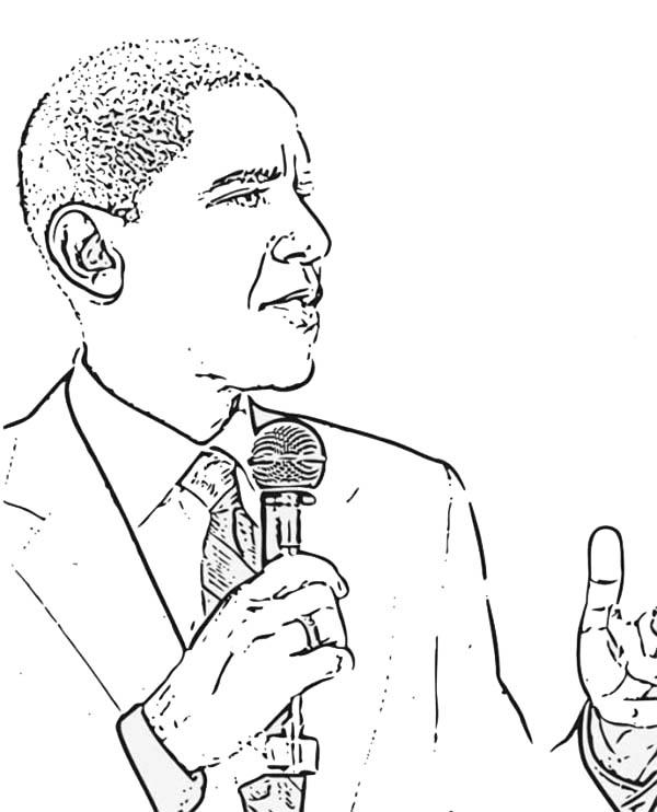 Barack Obama, : Barack Obama Giving Speech Coloring Page