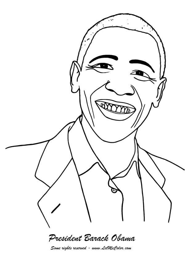 Barack Obama, : Barack Obama President of USA Coloring Page