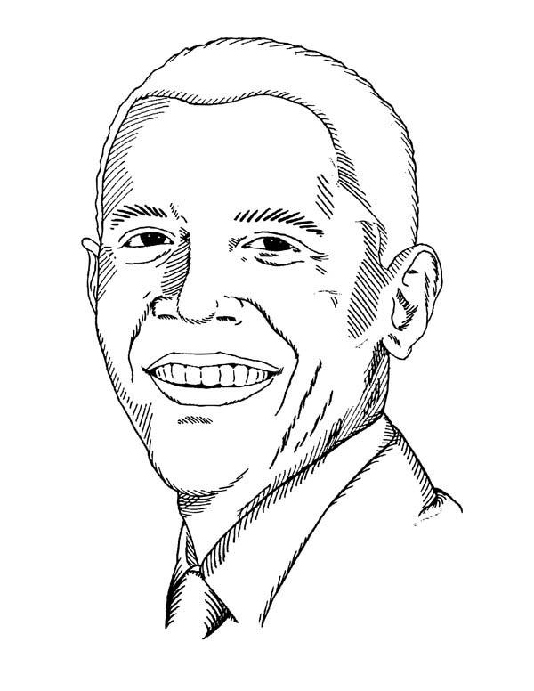 Barack Obama, : Barack Obama Smiling Coloring Page