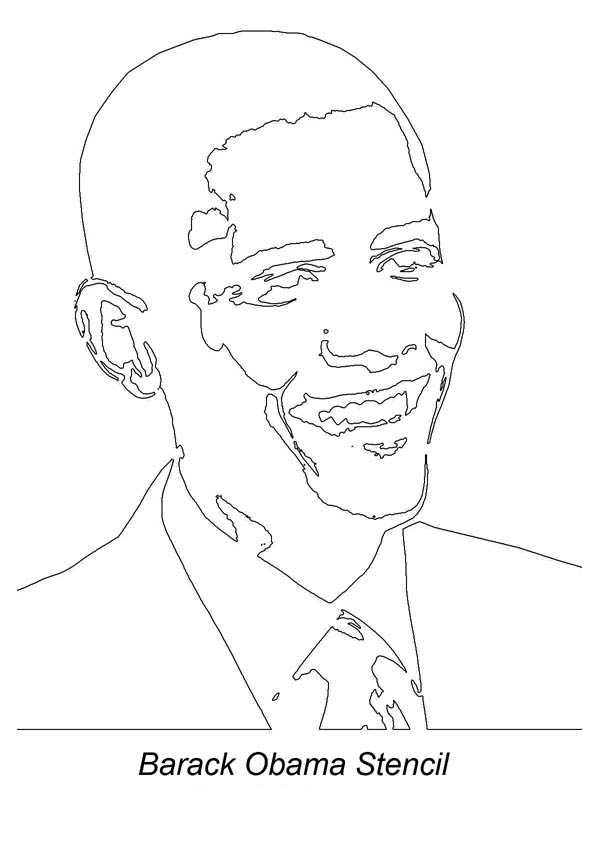 Barack Obama, : Barack Obama Stencil Coloring Page