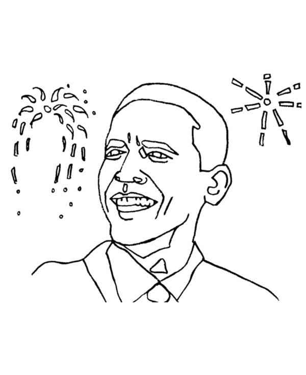 Barack Obama, : Barack Obama and Firework Background Coloring Page