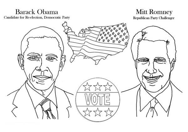 Barack Obama, : Barack Obama and Mitt Romney Election Poster Coloring Page