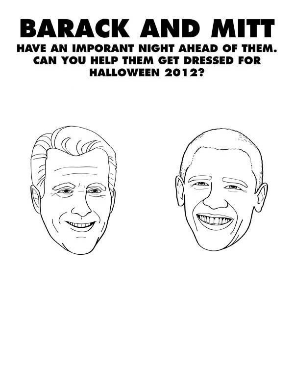 Barack Obama, : Barack Obama and Mitt Romney Poster Coloring Page