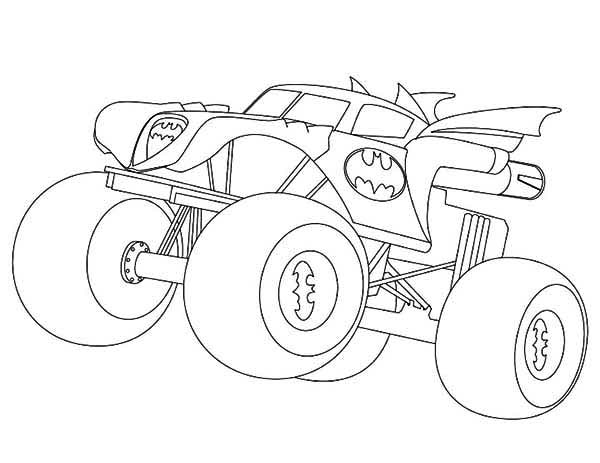 Monster Truck, : Batman Monster Truck Coloring Page