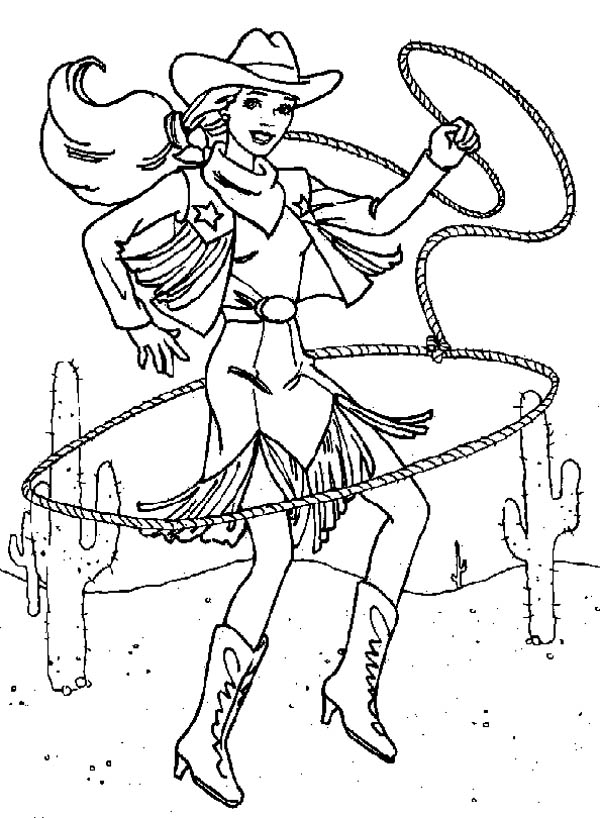 Cowgirl, : Beautiful Cowgirl with Lasso Coloring Page