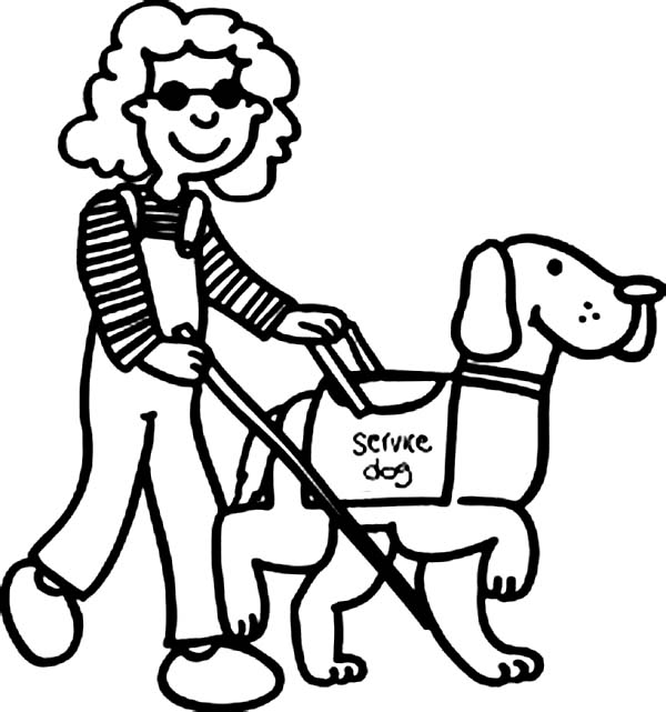 Disability, : Beautiful Girl with Disability Walking with Dog Coloring Page
