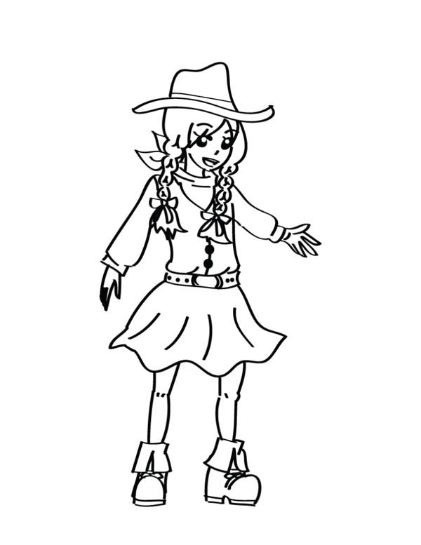 Cowgirl, : Beautiful Little Cowgirl Coloring Page