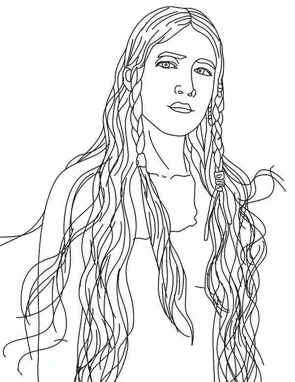 Native American, : Beautiful Native American Girl Coloring Page