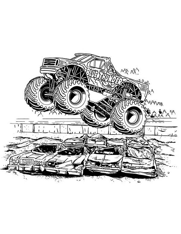 Monster Truck, : Blue Thunder Monster Truck Coloring Page