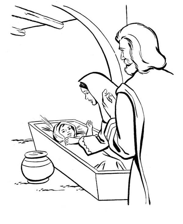 Baby Jesus, : Born of Baby Jesus in Bible Coloring Page