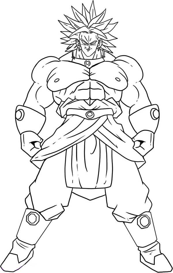 Dragon Ball Z, : Broly Super Saiyan Form in Dragon Ball Z Coloring Page