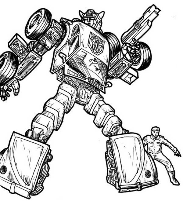 Transformers, : Bumblebee Protecting His Friend in Transformers Coloring Page