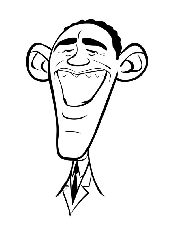 Barack Obama, : Caricature of Barack Obama Coloring Page