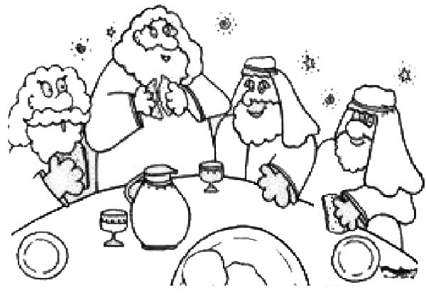 Last Supper, : Cartoon of the Last Supper Coloring Page