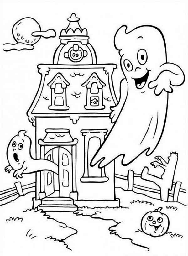 Haunted House, : Casper's Haunted House Coloring Page
