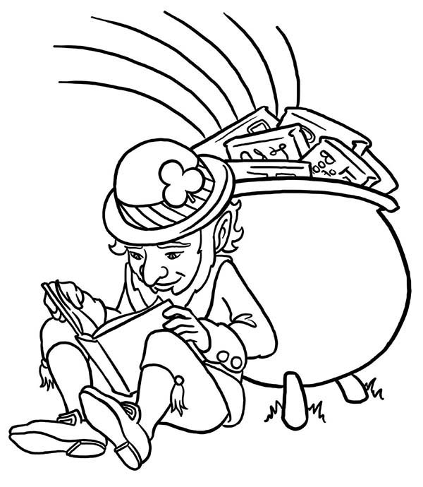 St Patricks Day, : Celebrating St Patricks Day with a Pot of Book Coloring Page