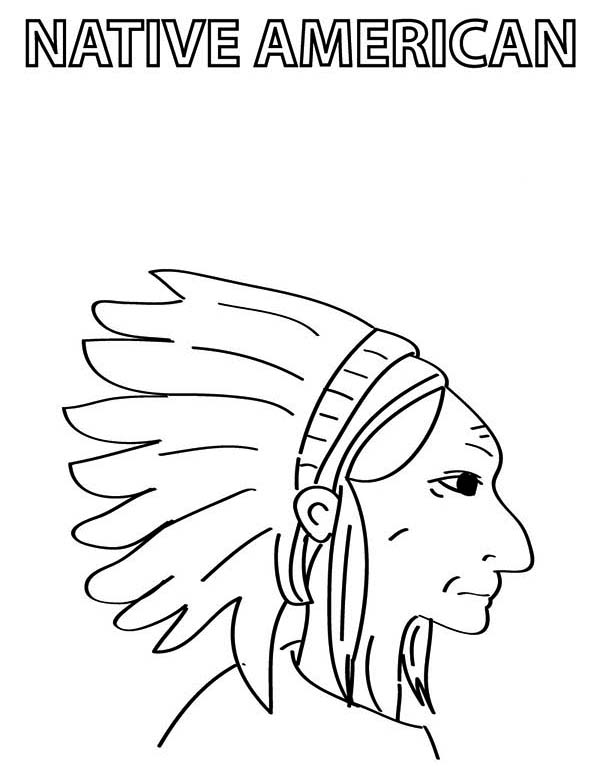 Native American, : Chief Native American Coloring Page
