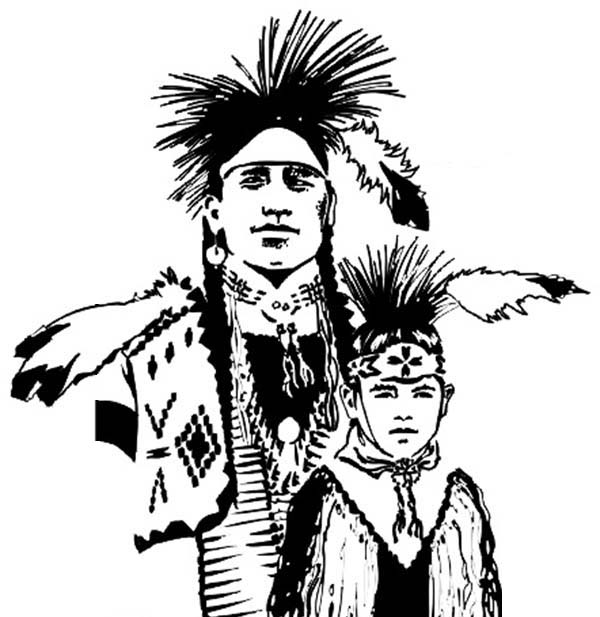 Native American, : Chief Native American and His Son Coloring Page