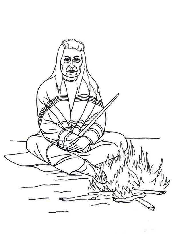 Native American, : Chief of Native American Sitting in Front of Fire Coloring Page