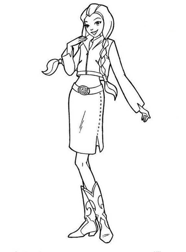 Cowgirl, : Country Cowgirl Coloring Page