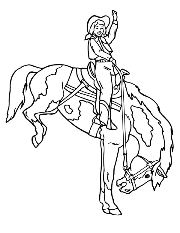 Cowgirl, : Cowgirl Doing Rodeo Coloring Page