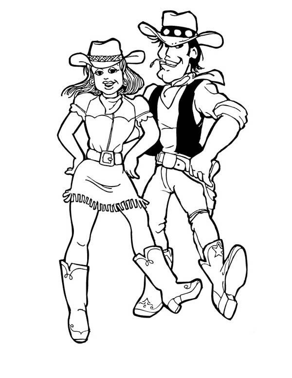 Cowgirl, : Cowgirl Doing Ten Step Dance Coloring Page
