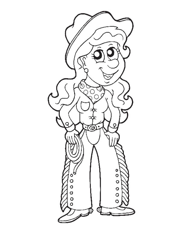 Cowgirl Picture Coloring Page : Kids Play Color