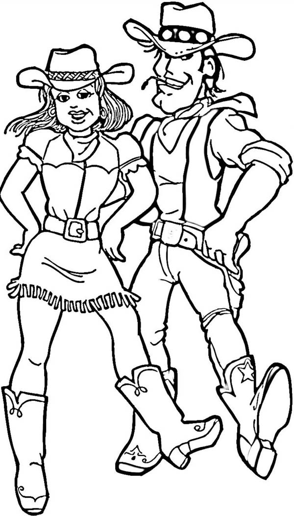 Cowgirl, : Cowgirl and Cowboy Doing Western Couple Dancing Coloring Page