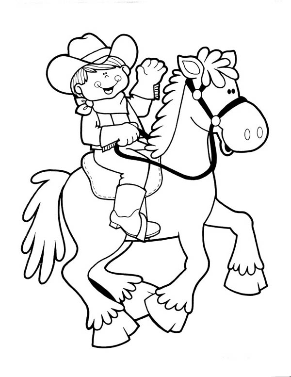 Cowgirl, : Cute Cowgirl Riding Picture Coloring Page