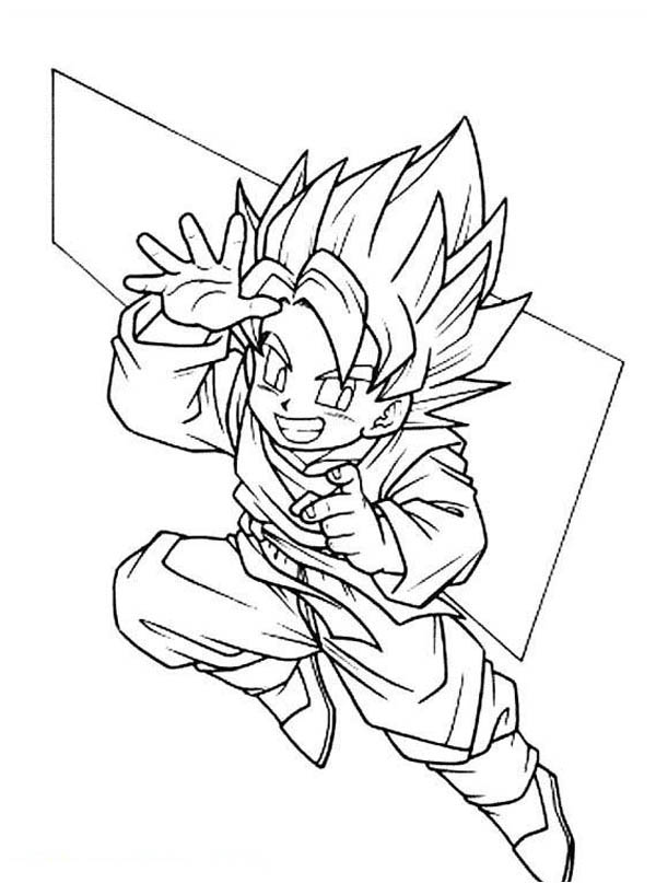 Cute Goku Super Saiyan 2form In Dragon Ball Z Coloring