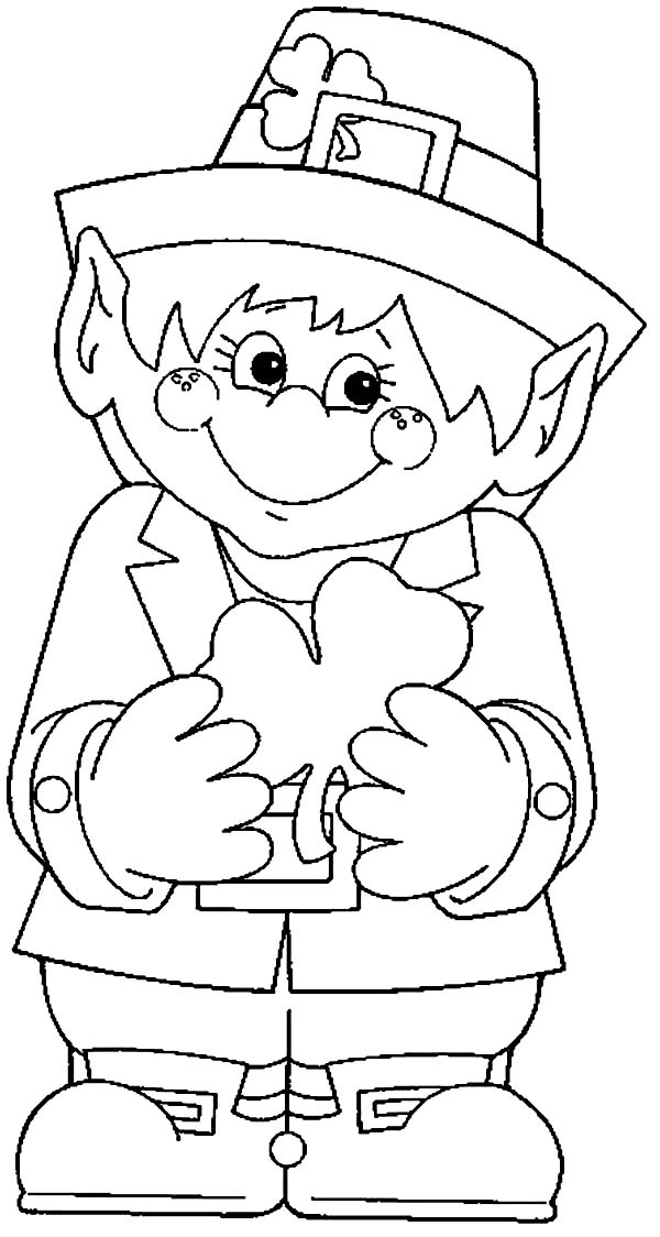 Leprechaun, : Cute Leprechaun Holding a Shamrock on His Hand Coloring Page